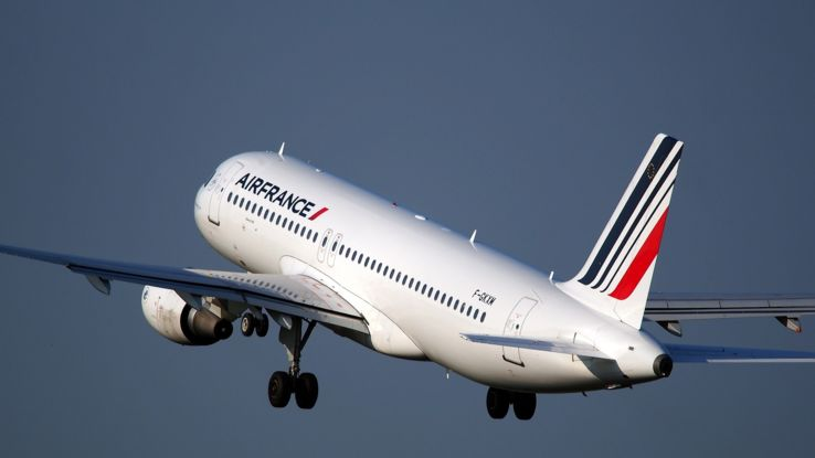 Flugzeug der Air France nach dem Start