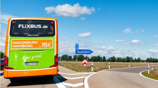 Weichen für Flixbus in Vaduz stehen auf Grün