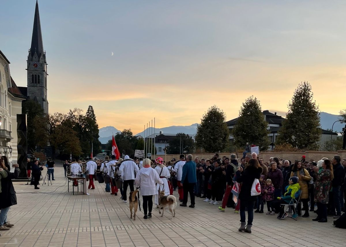 Herbert Elkuch an der gestrigen Corona Demonstration in Vaduz